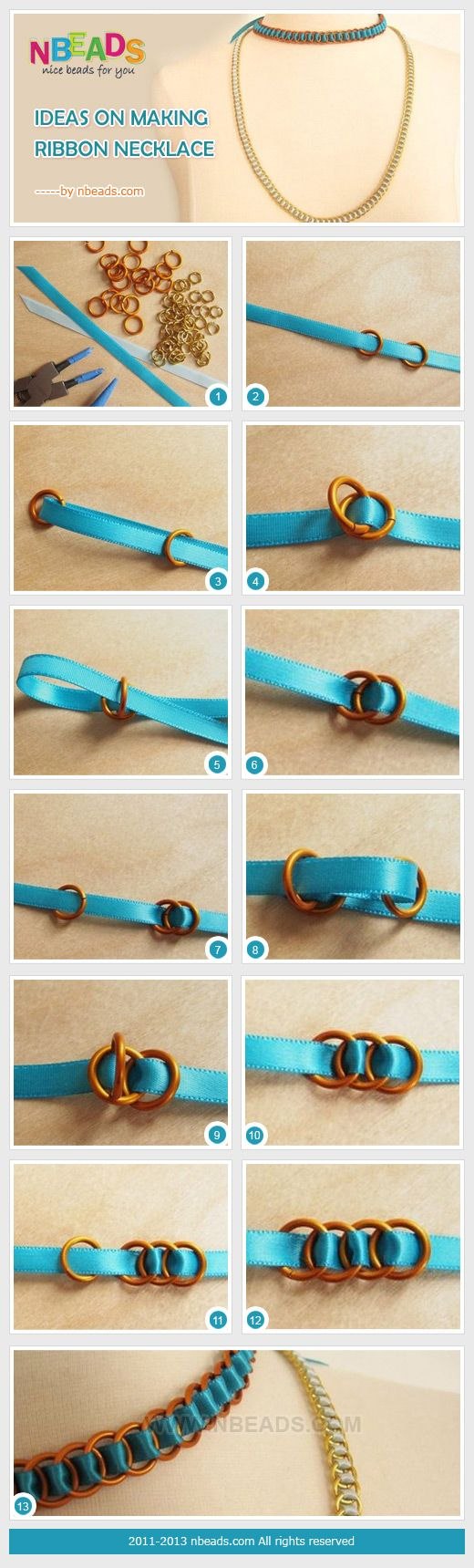 Ideas on making ribbon necklace pinterest for Ribbon crafts to make