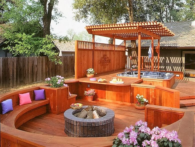 Hot Tub Pergola Decks Hot Tub Backyard Hot Tub Patio