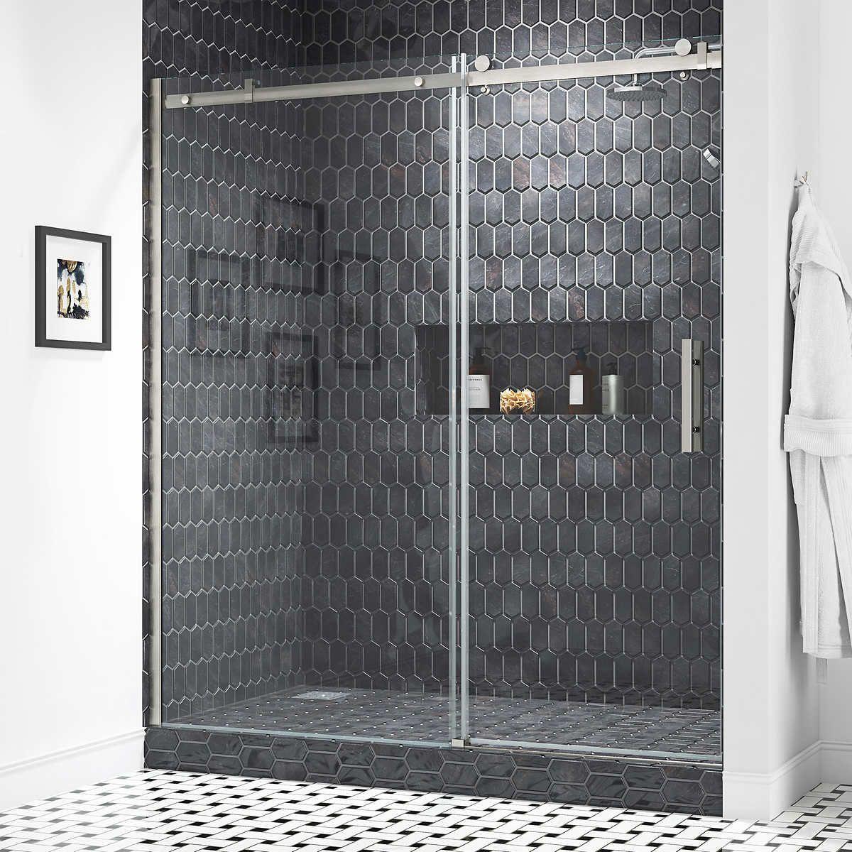 Ove Decors Kelsey 72 Tempered Glass Shower Door Shower Doors Tempered Glass Shower Doors Shower Sliding Glass Door