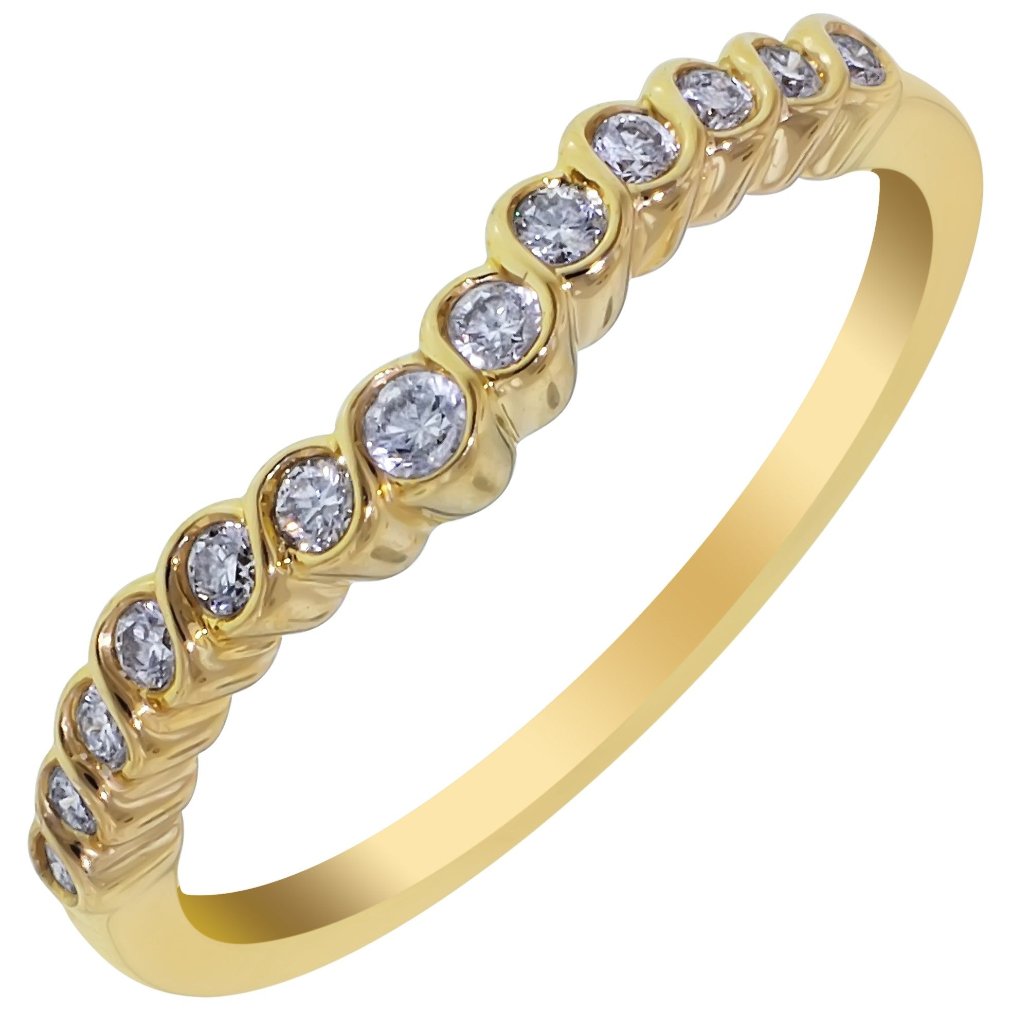 Diamond Curved Wedding Band in 14kt Yellow Gold (1/6ct tw