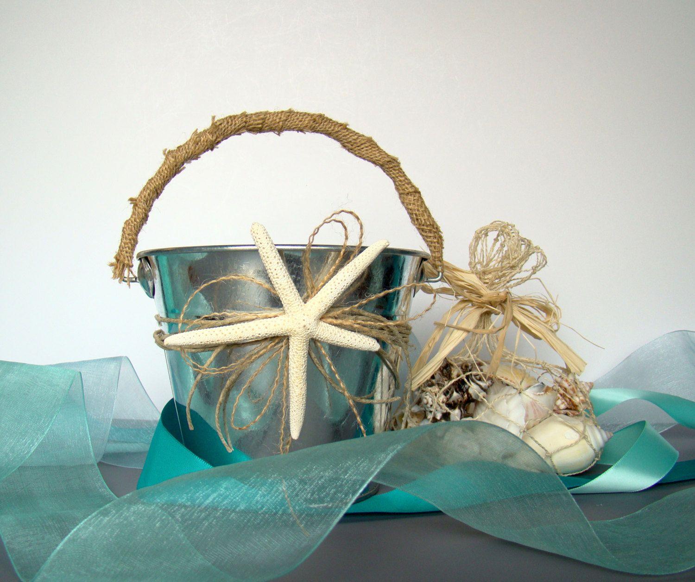 Beach Wedding Flower Girl Basket Pail Starfish Favor Container Decor