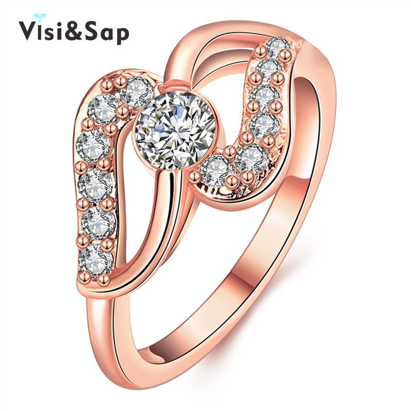 Visisap S Curve Shape Rings For Women Office Lady Trendy Jewelry