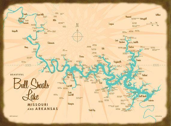 Bull Shoals Lake, MO & AR Map - Canvas Print   Lakebound Maps ...
