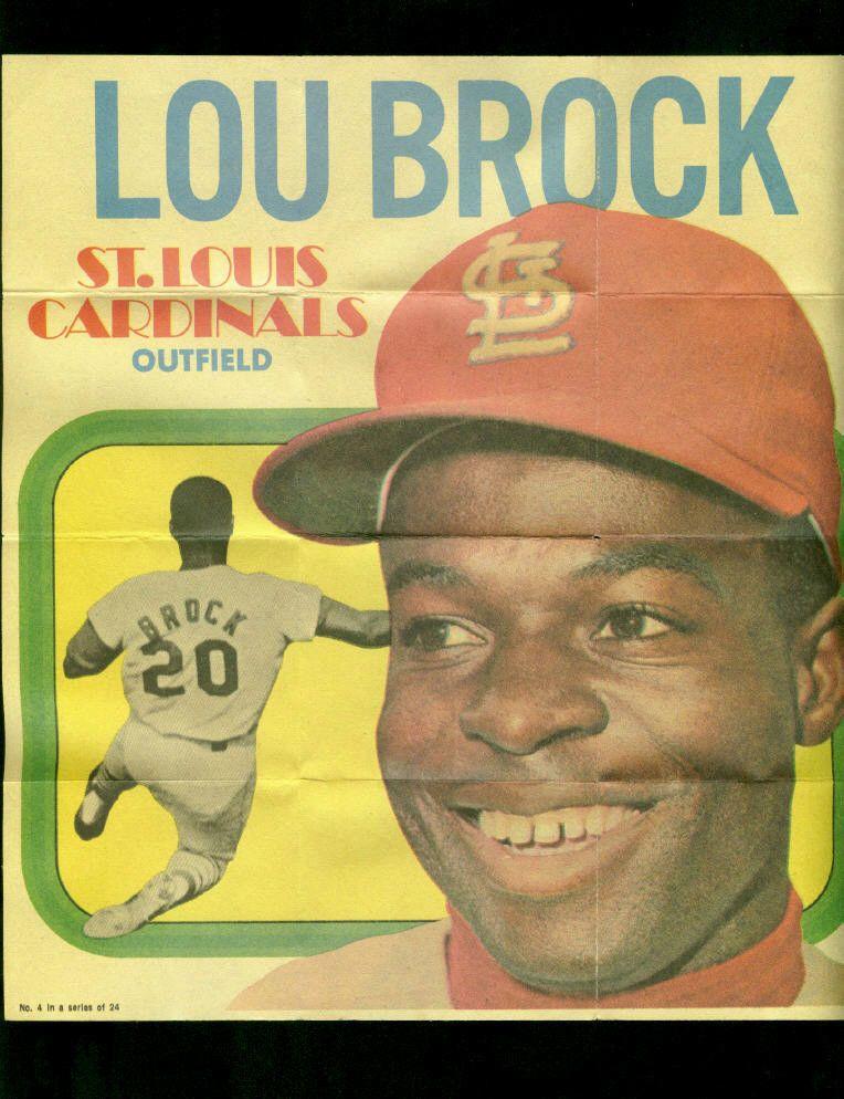 """Lou Brock 1970 Topps Paper Insert 8 3/4"""" x 9 3/4"""" St"""
