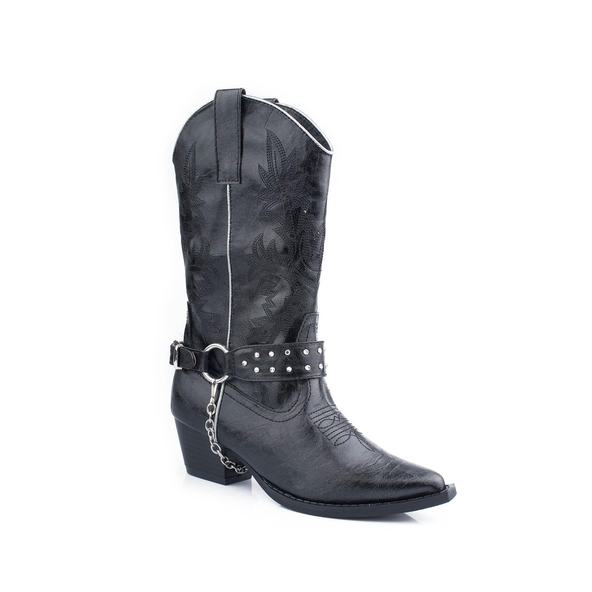 Fashion Faux Leather Boot Narrow Toe Silver - Black - Kids