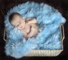 Baby Blue Light Blue Mongolian Faux Fur Photography Photo Prop Newborn Nest