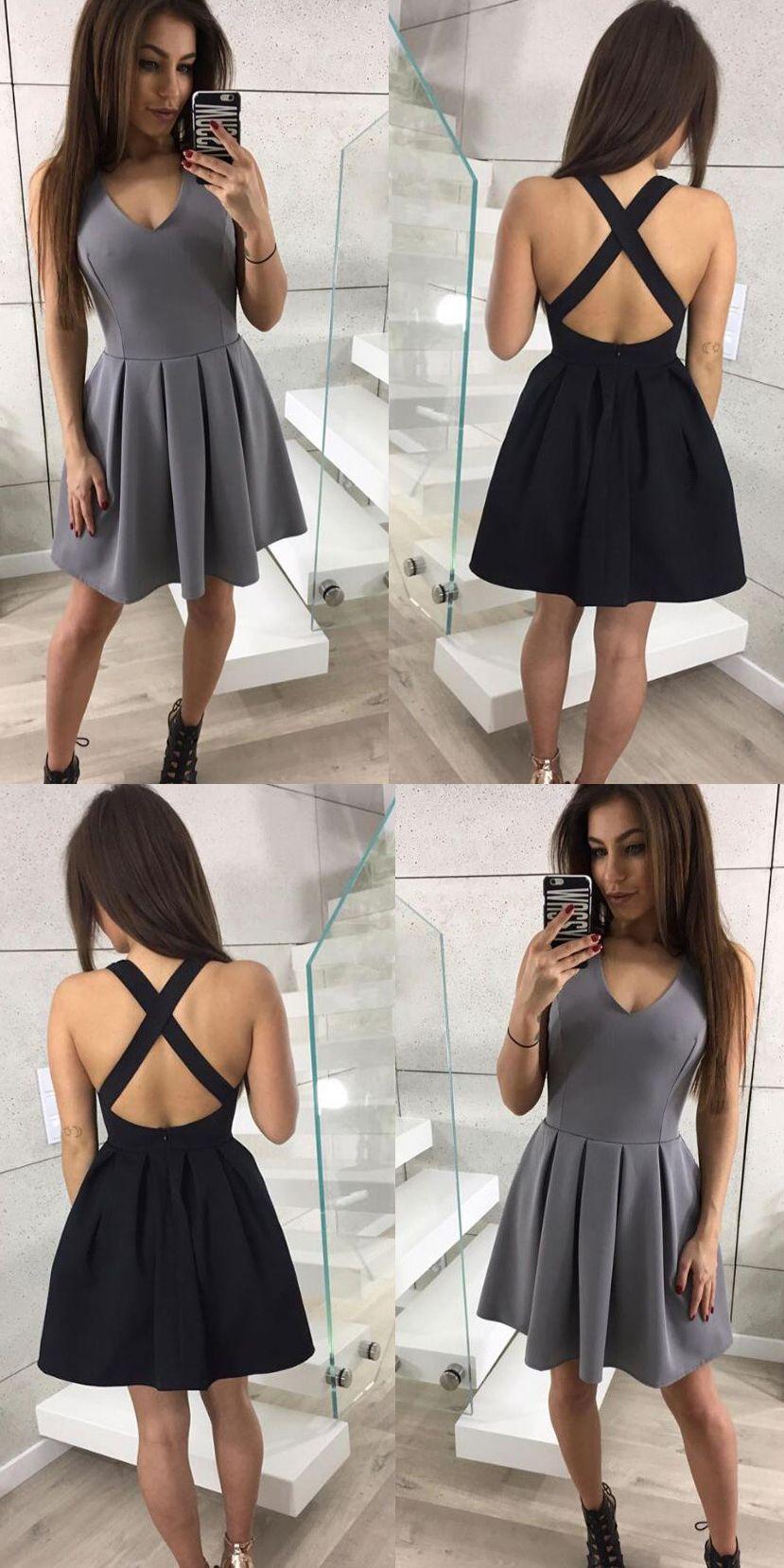 Sexy black short prom dressesfashion criss cross back homecoming
