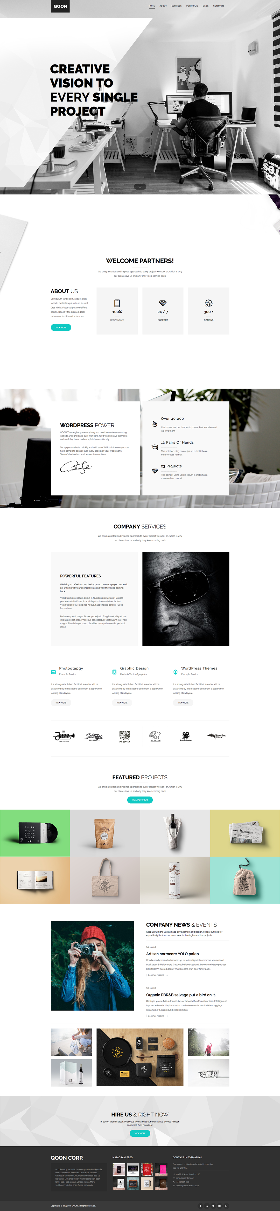 QOON Creative WordPress Theme by OrangeIdea on Behance