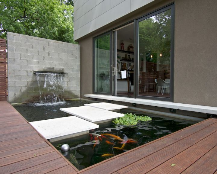 Modern Water Features With Stone Pathway On A Pond 400 x 300