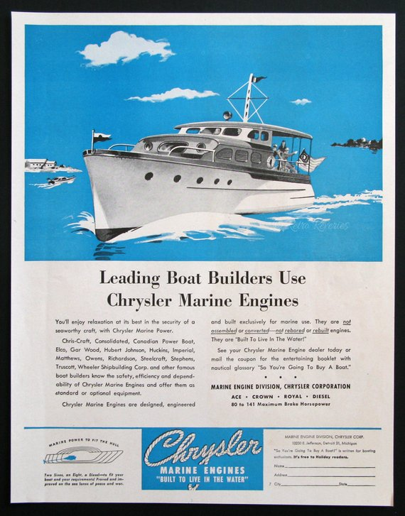 1946 Chrysler Marine Engines Ad - 1940s Party Boat Watercraft