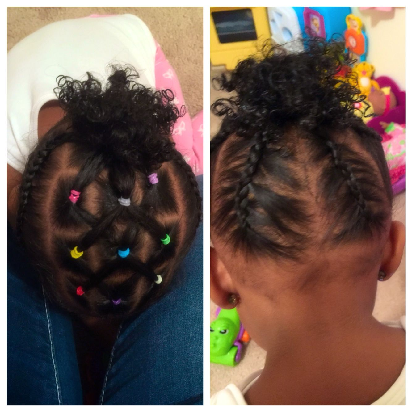 toddler hair styles #toddler #rubberbands #cornrows #mixedkids