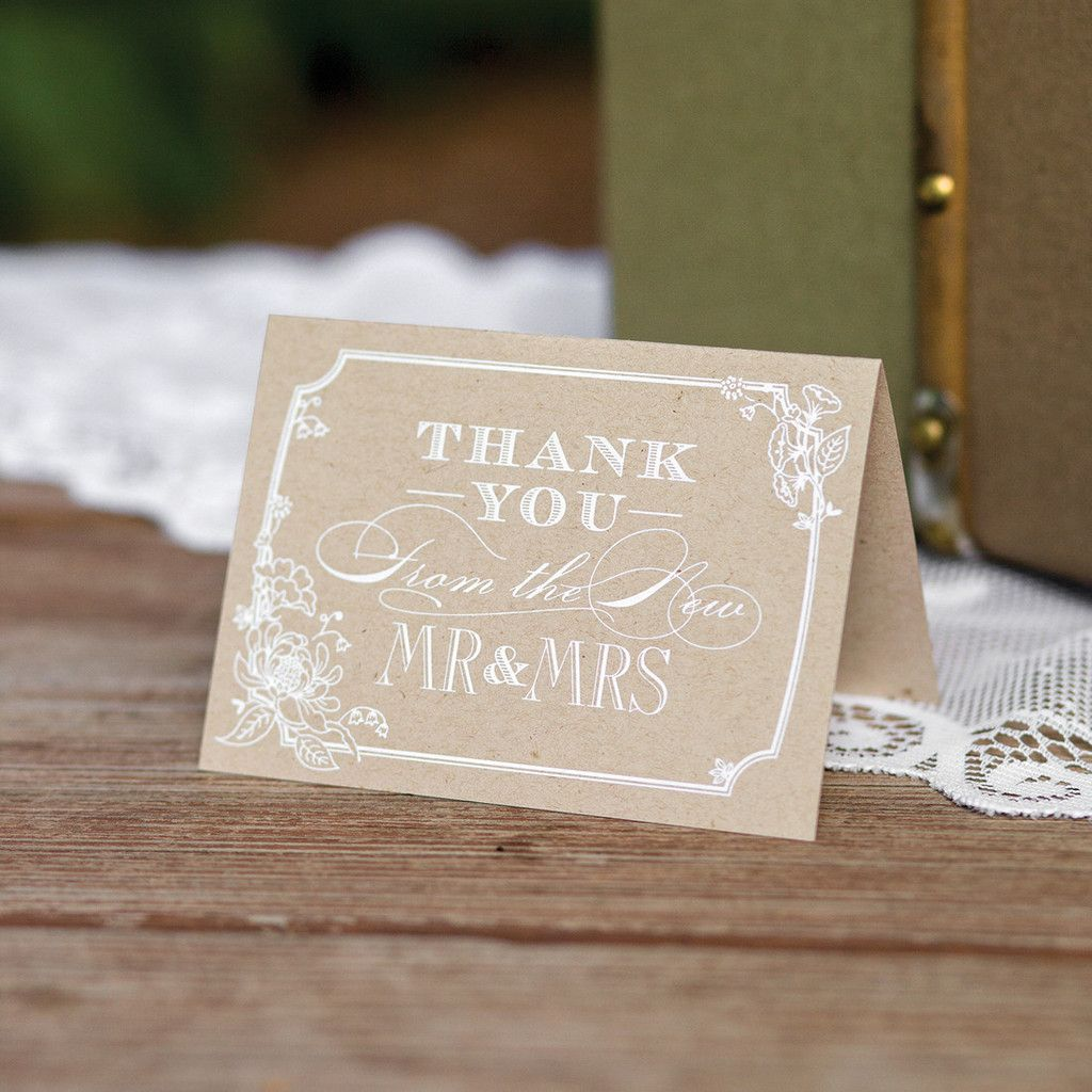 Rustic Chic Wedding Thank You Card Set (Pack of 50) | Rustic chic ...