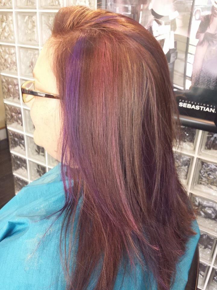 Pink And Purple Peekaboo Highlights Hair Designs Pinterest
