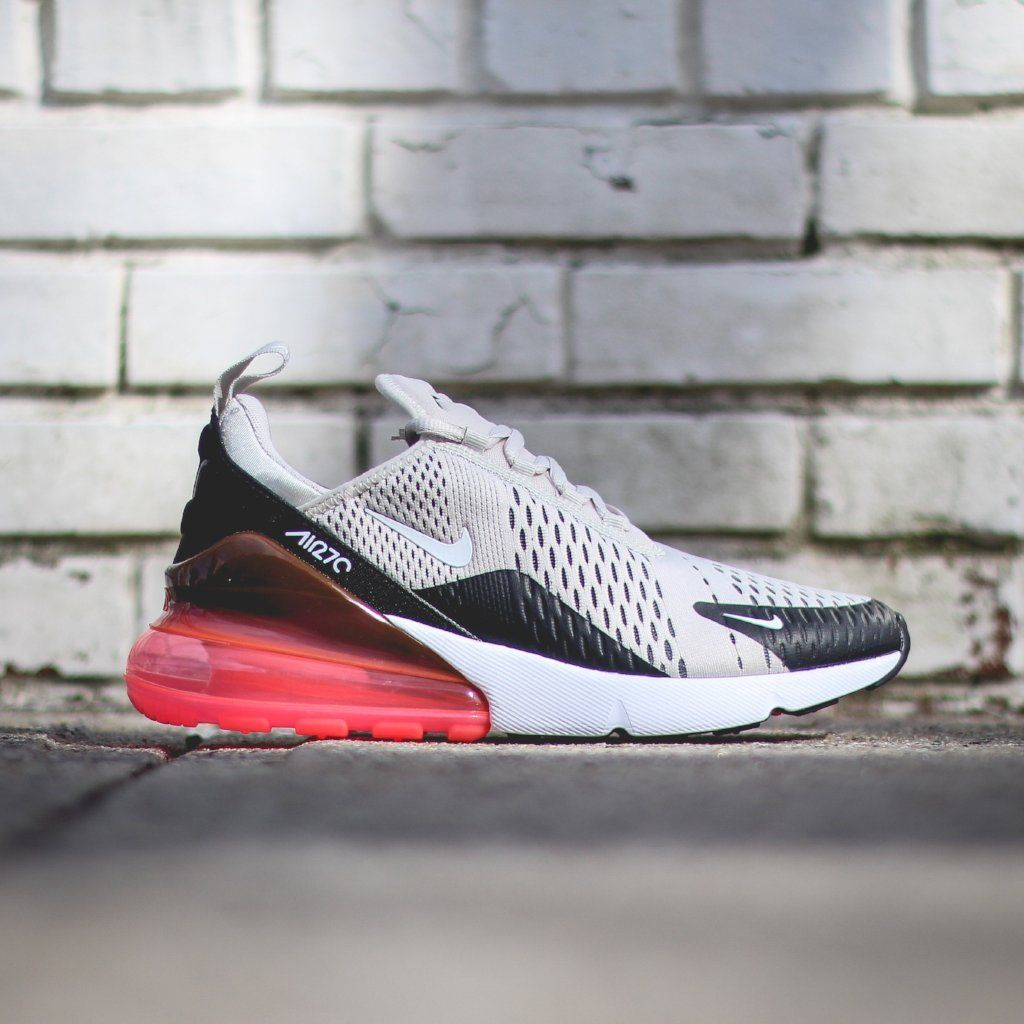 b9d33c656eec6 NIKE Air Max 270 - Black Light Bone-Hot Punch