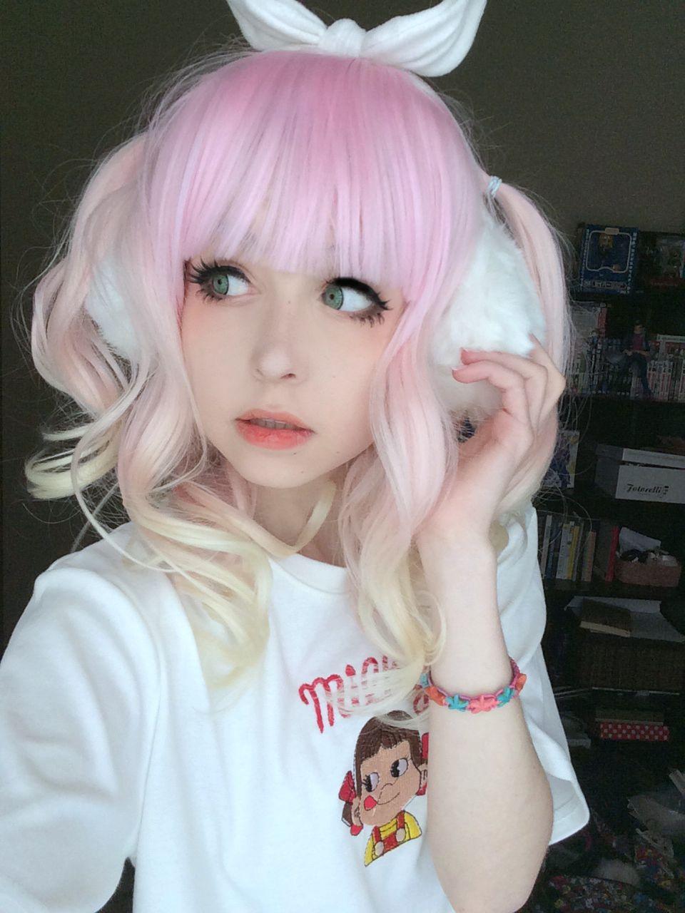 Kawaii pastel strawberry lemonade wig kawaii hairstyles