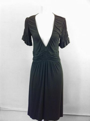 STYLE  $45.00   Deep V neck cotton dress by Renee Jesus, short sleeves with gather detail.  type: dresses by: renee jesus