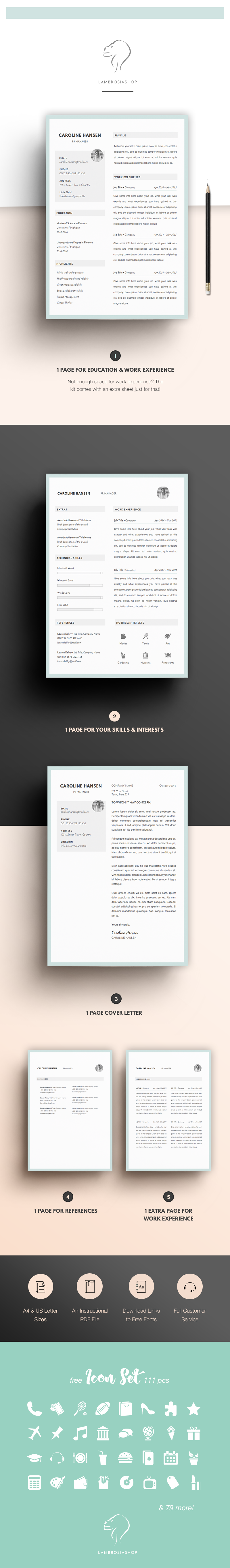 CV Template for Word   5 Page Creative Resume   Professional Resume ...