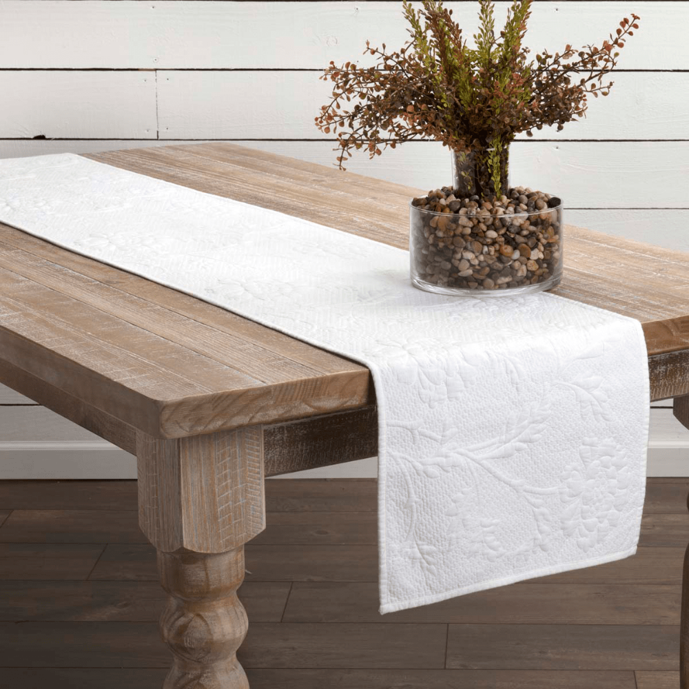 Carly Quilted Table Runner in White or Red for Sale