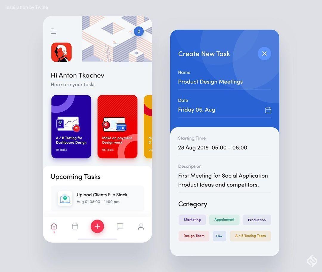 "Twine UI Design Ideas 💭💡 on Instagram: ""Task Management App Design Concept by Masudur Rahman . . . #instaui #webdesigntrends #digital_design #wireframes #prototypes #coderpower…"""