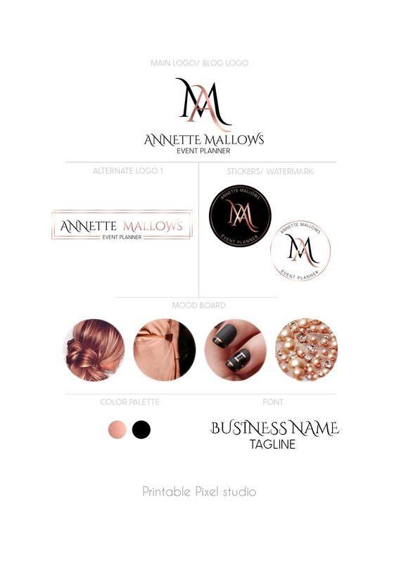 Branding package - Rose gold Logo - Brand identity kit - Event planner Logo - Black logo package ...