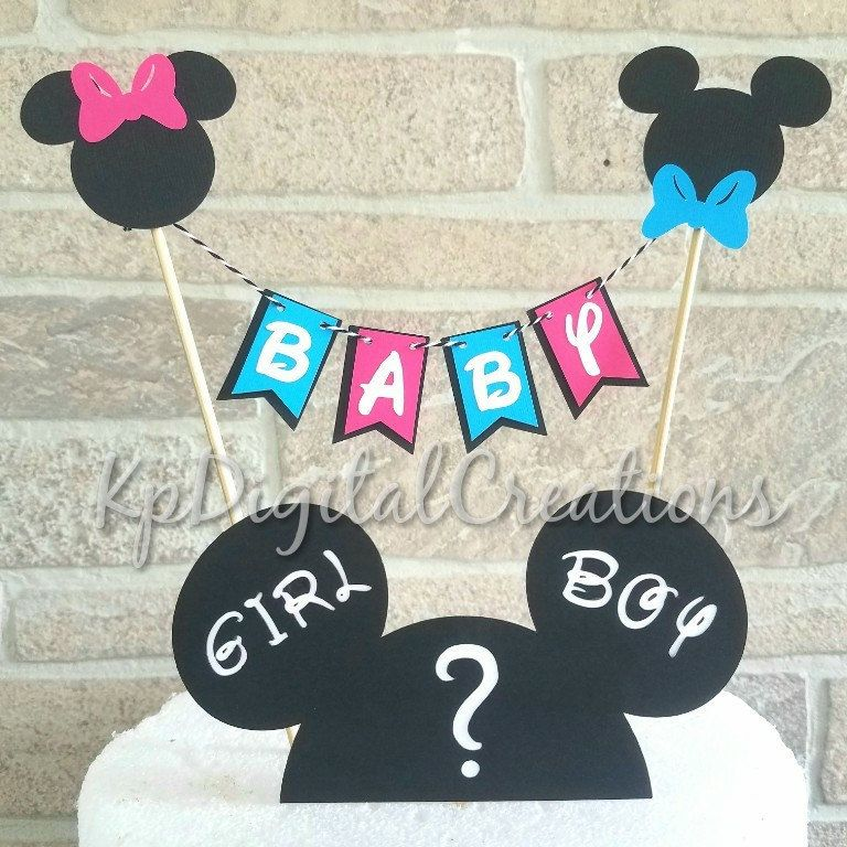 Mickey And Minnie Gender Reveal Cake Topper Mickey Baby Shower