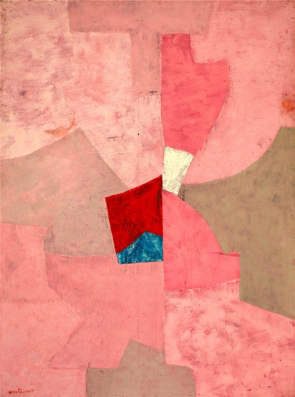Serge Poliakoff Composition En Rose 1954 Huile Sur Toile 130 X 97 Cm Collection Fondation Gandur Abstrait Peintures Art Abstrait Abstraction Geometrique