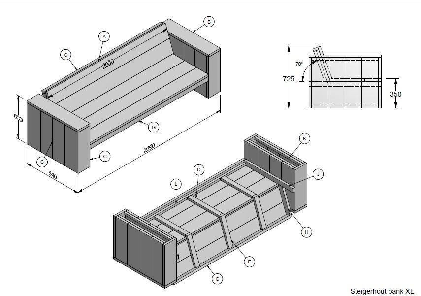 Nl steigerhout bank xl au enm bel pinterest for Steigerhouten bank bouwtekening