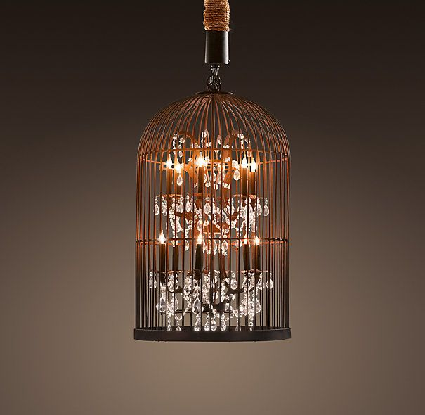 New Restoration Hardware Vintage Birdcage Chandelier High