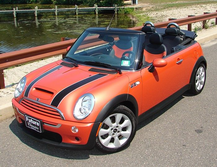 future classics hot orange mini cooper convertible ride in style mini cooper convertible. Black Bedroom Furniture Sets. Home Design Ideas