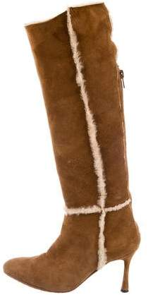 Manchester online Manolo Blahnik Shearling-Trimmed Knee-High Boots sast online deals cheap price for cheap discount D0suAO