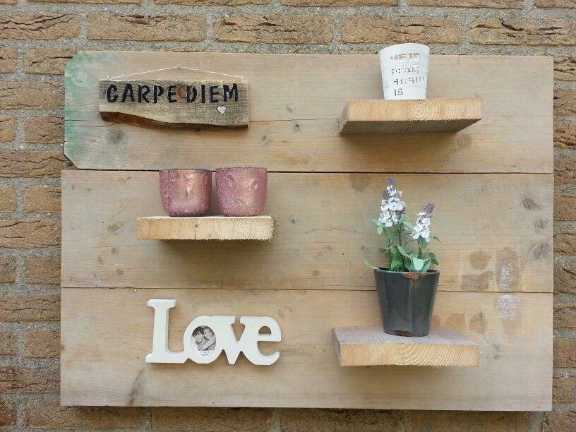Tuin bord van steigerhout | tuin decoratie | Pinterest