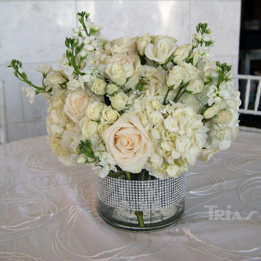 Low Centerpiece White Hydrangeas White Spray Roses Vendela Ivory
