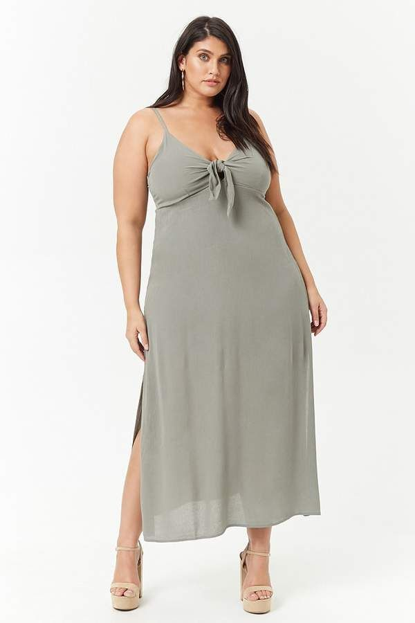 3452caa9b Forever 21 Plus Size Tie-Front Maxi Dress - Plus Size Fashion for Women - Ad