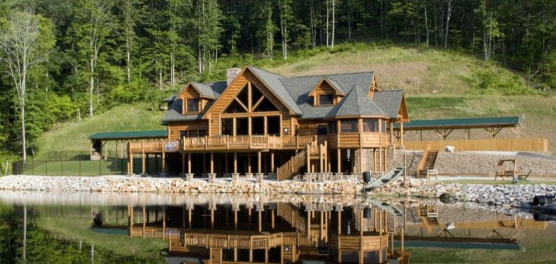 Lake cabin house plans home timber frame hybrid for Lodge home plans