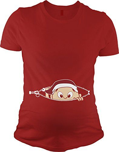 5f3f4adb Christmas Baby Peeking Maternity T Shirt Funny Xmas Pregnancy Tee XL Crazy  Dog Tshirts http: