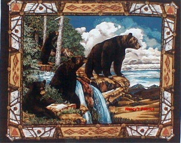 Black Bear Mountain Cotton Quilting Fabric Panel Pine cones ... : wildlife quilt fabric - Adamdwight.com