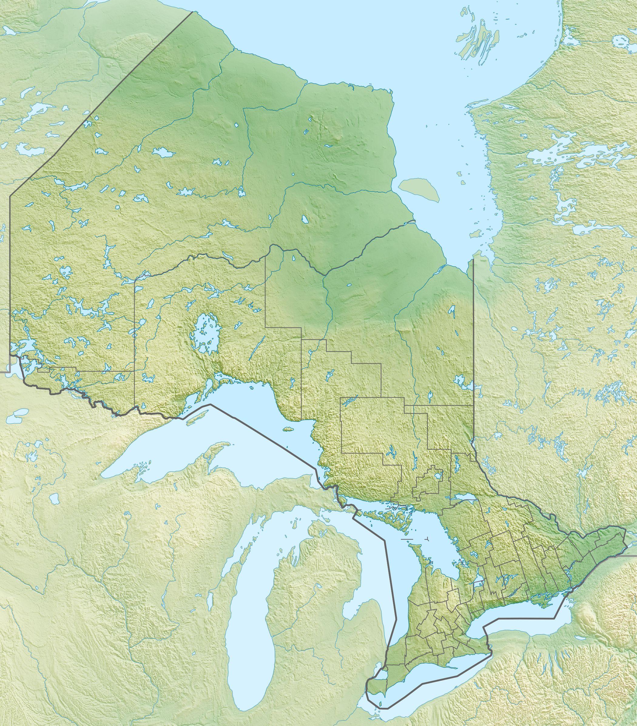 Map of Ontario Description Canada Ontario relief location mapjpg