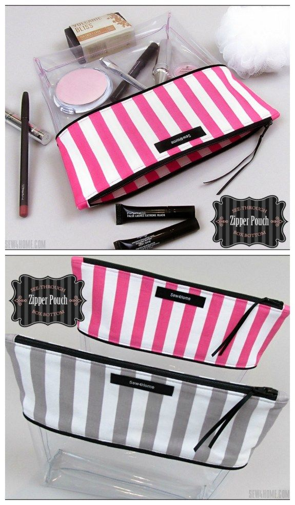 Free Zipper Pouch Sewing Pattern Sewing Pattern And Tutorial For How To Make A Clear Vinyl Zipper Bag Cosmetics Bag Bag Patterns To Sew Vinyl Bag Modern Bag