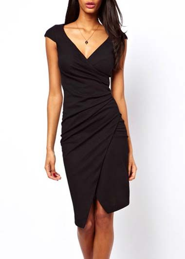 Classic Solid Black V Neck Knee Length Dress