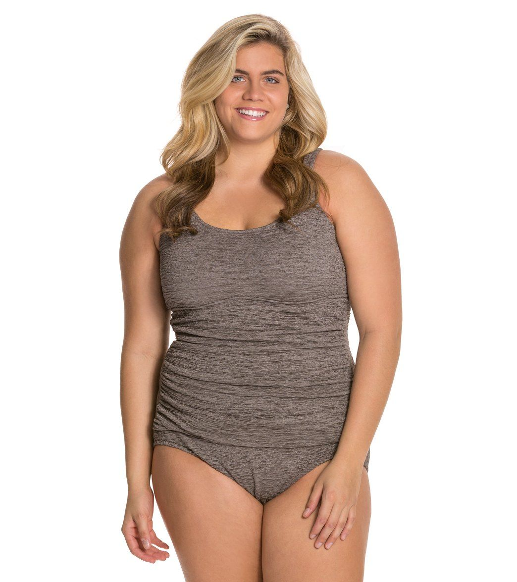 01bf5cdc0b3 Penbrooke Plus Size Krinkle Empire Mio Chlorine Resistant One Piece at  SwimOutlet.com - The