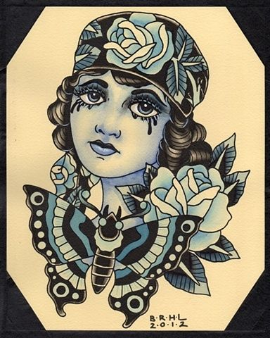 Old school tattoo woman google search images for Old school female tattoos