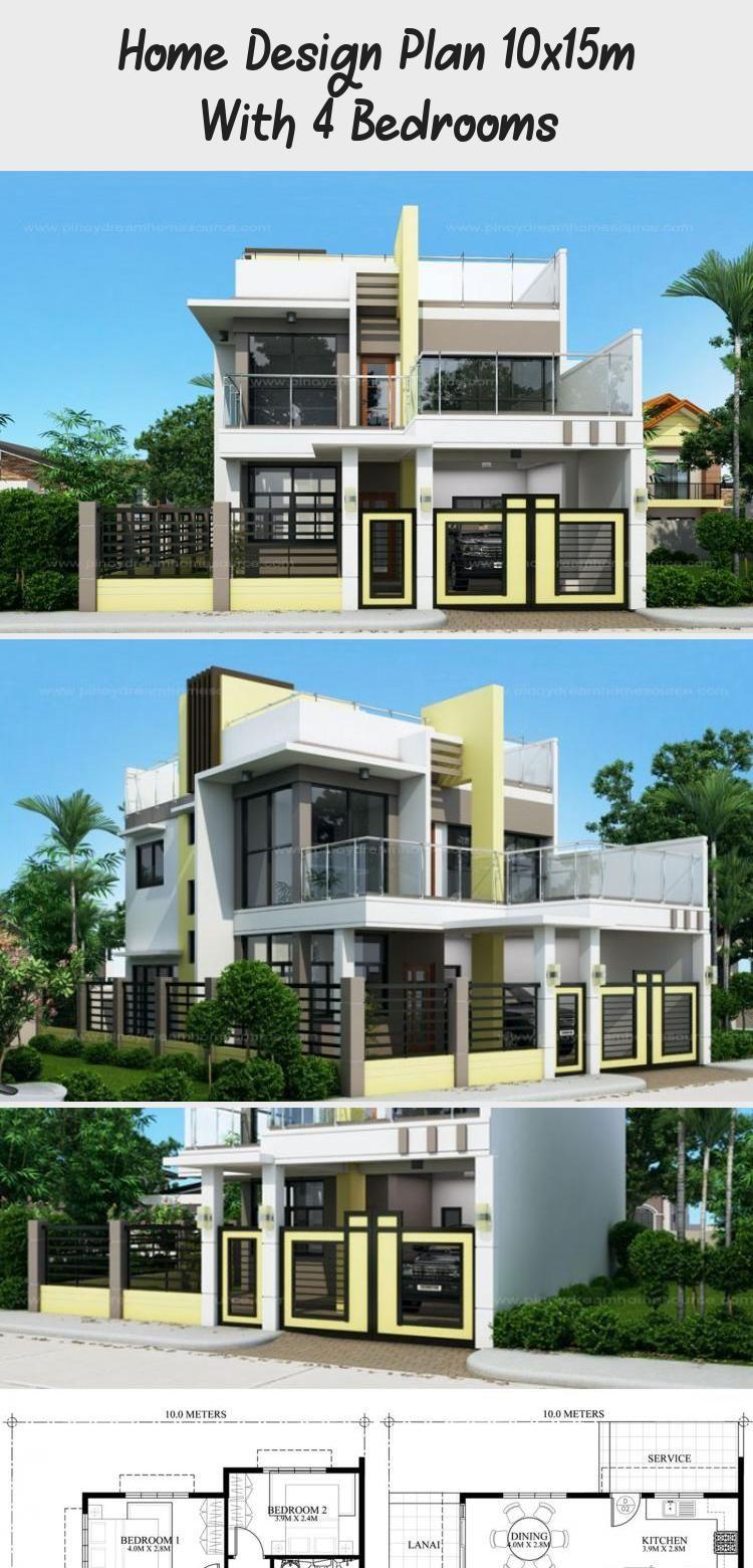 Home Design Plan 10x15m With 4 Bedrooms Home Ideas Floorplans4bedroomcontemporary Housefloorplans4bedroo In 2020 Home Design Plan House Design Floor Plan 4 Bedroom