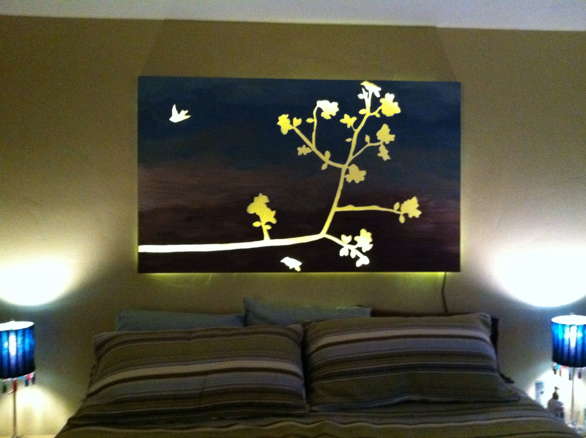 i did it painted canvas over stickers with led lights behind it rh pinterest com diamond painting with led lights diamond painting with led lights