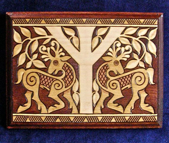 """Protective """"Algiz"""" Rune and Viking-style Stags woodburned plaque"""