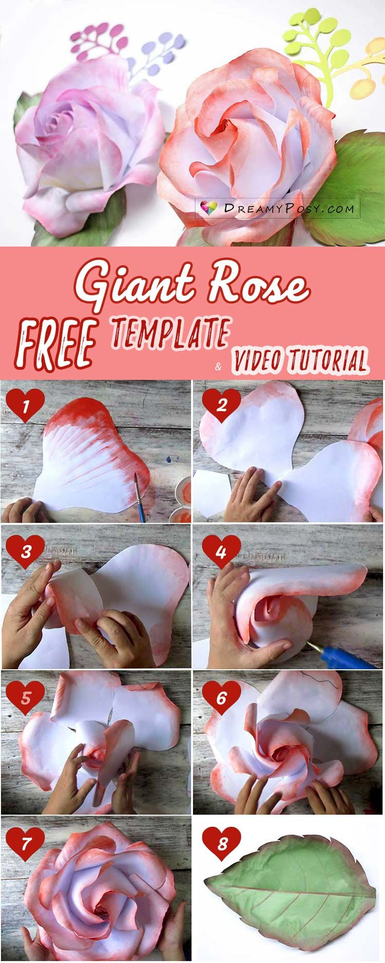 free bridal shower advice card template%0A FREE template and full tutorial to make giant rose for backdrop