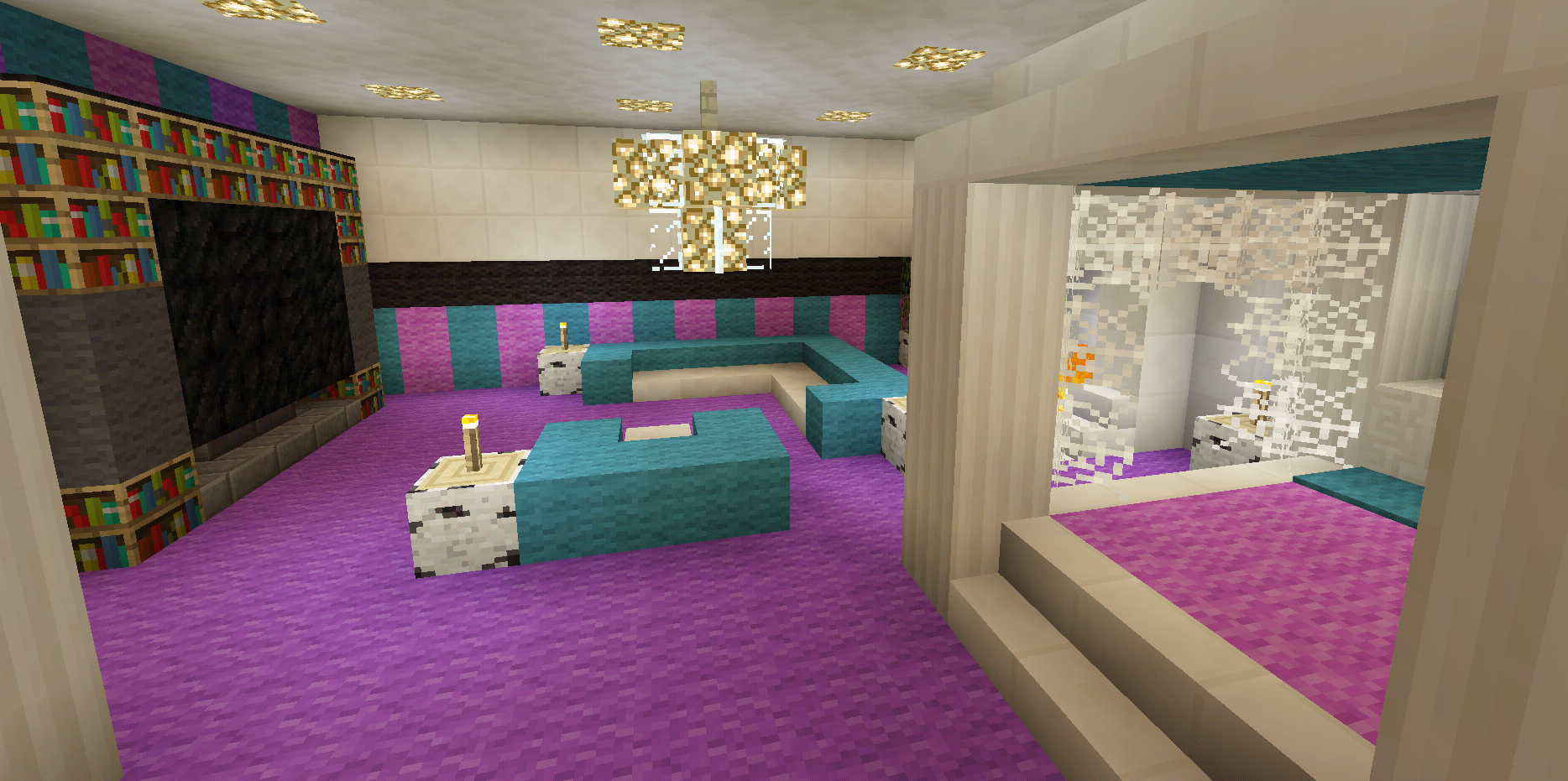 Minecraft bedroom pink girl purple wallpaper wall design for Bedroom ideas on minecraft