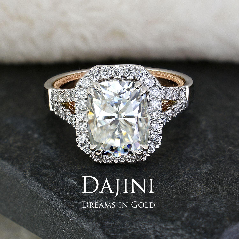 Moissanite Engagement Ring 3 9 Carat Elongated Cushion Uk France Two Tone White Rose 14k 18k Gold Diamond Halo Pave Jewelry Diamond Engagement Wedding Ring Engagement Rings Emerald Engagement Ring