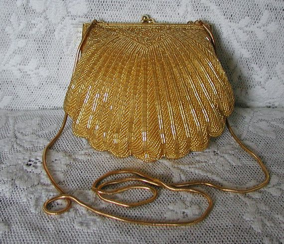 Gorgeous Vintage Carla Marchi Gold Beaded Shell Shape Bag Handbags Purses
