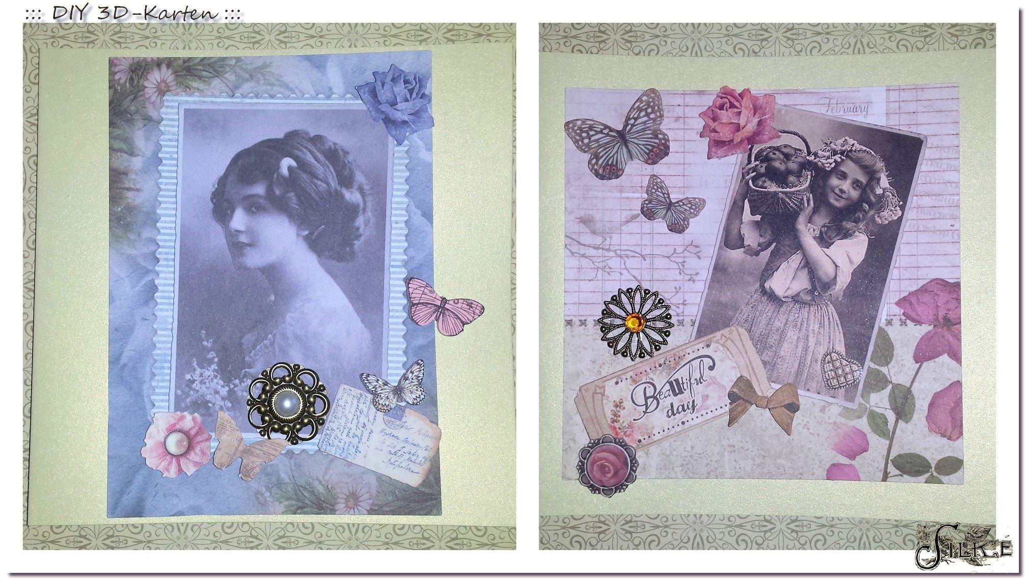 Neue 3D Karten im Vintage-Style für die Mädels