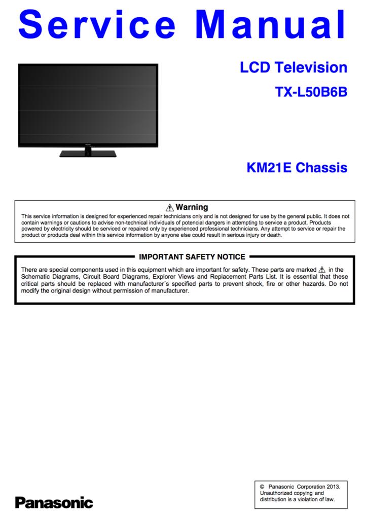 Panasonic Tx L50b6b Service Manual Complete Panasonic Tv Services Manual